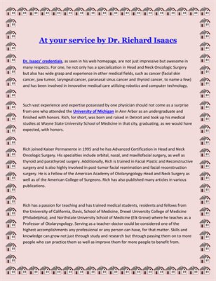 At your service by Dr. Richard Isaacs
