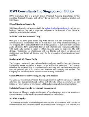 MWI Consultants Inc Singapore on Ethics