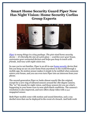 Smart Home Security Guard Piper Now Has Night Vision: Home Security Corliss Group Experts
