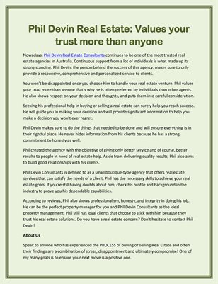 Phil Devin Real Estate: Values your trust more than anyone