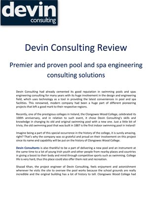 Devin Consulting Review: Premier and proven pool and spa engineering consulting solutions