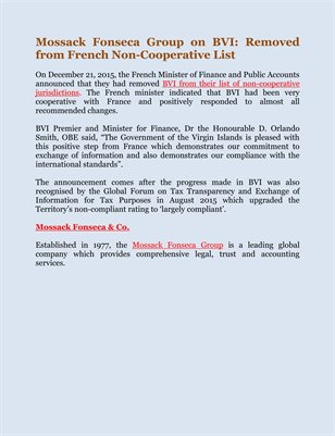Mossack Fonseca Group on BVI: Removed from French Non-Cooperative List