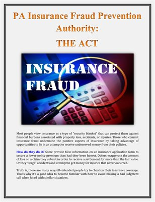 PA Insurance Fraud Prevention Authority: THE ACT