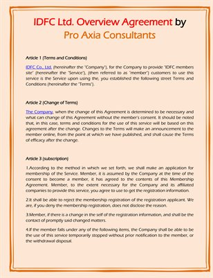 IDFC Ltd. Overview Agreement by Pro Axia Consultants