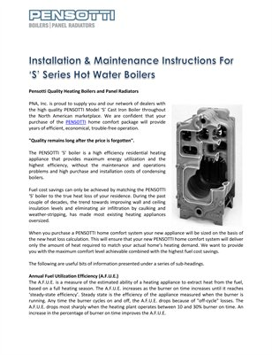 Installation & Maintenance Instructions For 'S' Series Hot Water Boilers
