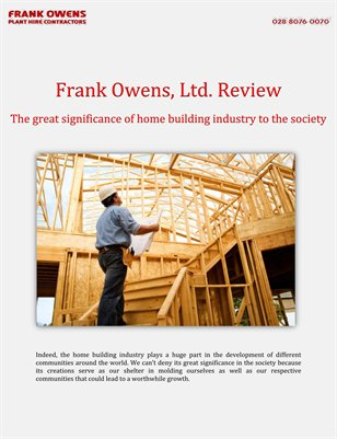 Frank Owens, Ltd. Review: The great significance of home building industry to the society