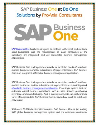 SAP Business One at Be One Solutions by ProAxia Consultants