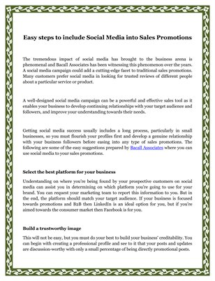 Easy steps to include Social Media into Sales Promotions