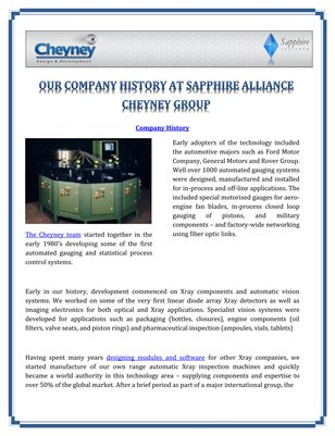Our Company History at Cheyney Design and Development