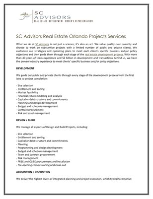 SC Advisors Real Estate Orlando Projects Services