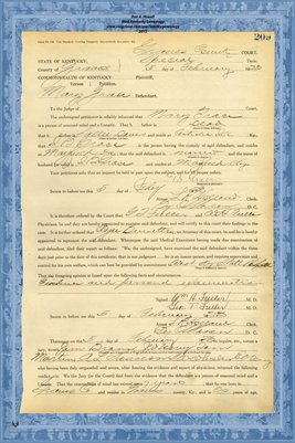 1923 State of Kentucky vs. Mary Grace, Graves County, Kentucky