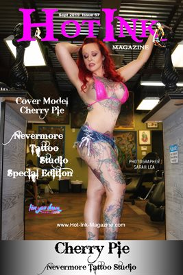 HOT INK MAGAZINE COVER POSTER - NEVERMORE TATTOO STUDIO SPECIAL EDITION - Cover Model Cherry Pie - September 2019