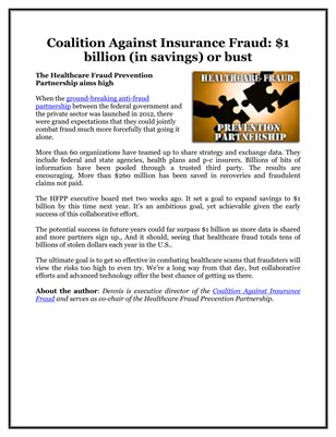 Coalition Against Insurance Fraud: $1 billion (in savings) or bust