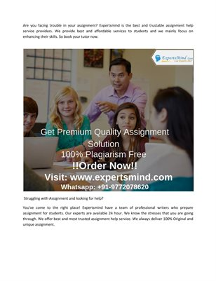 Real Team experts for Real Grades at Expertsmind