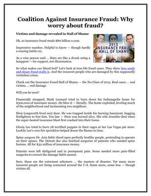 Coalition Against Insurance Fraud: Why worry about fraud?
