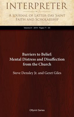 Barriers to Belief: Mental Distress and Disaffection from the Church