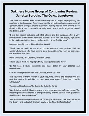 Oakmere Home Group of Companies Review: Janette Borodin, The Oaks, Longtown