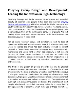 Cheyney Group Design and Development: Leading the Innovation in High-Technology