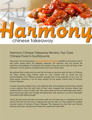 Harmony Chinese Takeaway Review: Top Class Chinese Food in Southbourne