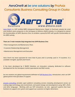 AeroOne® at be one solutions by ProAxia Consultants Business Consulting Group in Osaka