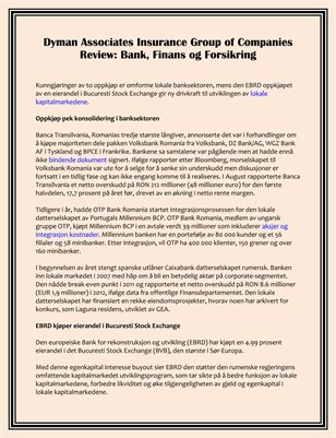 Dyman Associates Insurance Group of Companies Review: Bank, Finans og Forsikring