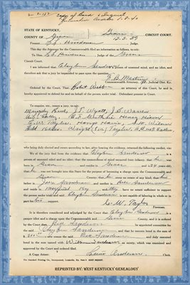 1939 State of Kentucky vs. CLAYBURN ANDERSON, Graves County, Kentucky