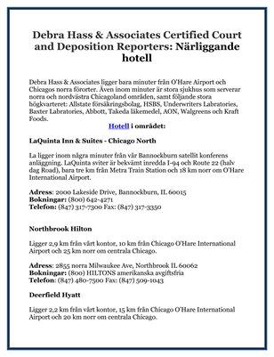 Debra Hass & Associates Certified Court and Deposition Reporters: Närliggande hotell