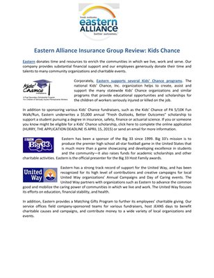 Eastern Alliance Insurance Group Review: Kids Chance
