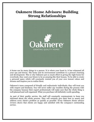 Oakmere Home Advisors: Building Strong Relationships