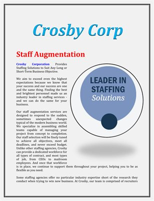 Crosby Corp: Staff Augmentation