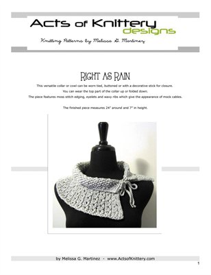 Right as Rain Collar Knitting Pattern