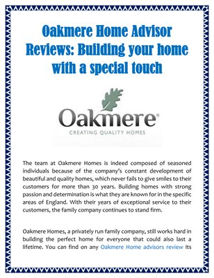 Oakmere Home Advisor Reviews: Building your home with a special touch