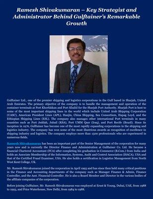 Ramesh Shivakumaran – Key Strategist and Administrator Behind Gulftainer's Remarkable Growth