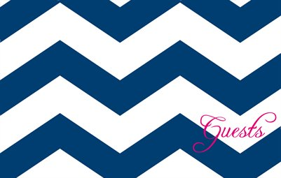 Navy Chevron Guestbook with Pink Accents