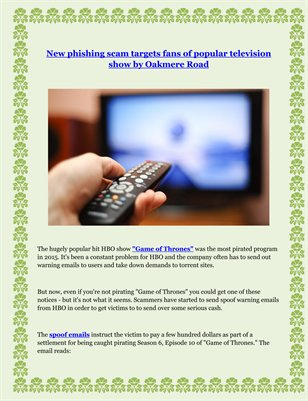 New phishing scam targets fans of popular television show by Oakmere Road