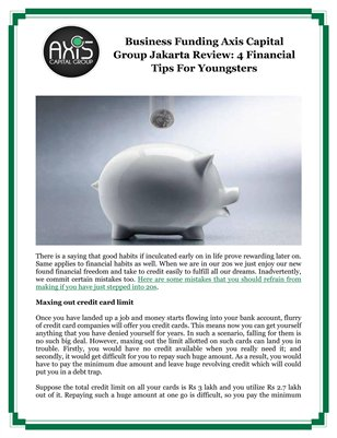 Business Funding Axis Capital Group Jakarta Review: 4 Financial Tips For Youngsters