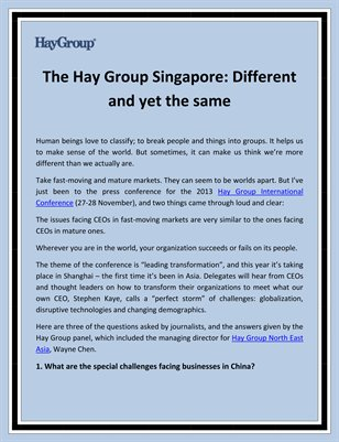 The Hay Group Singapore: Different and yet the same