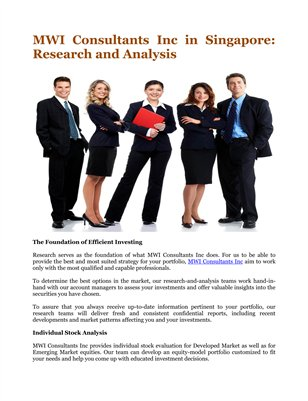 MWI Consultants Inc in Singapore: Research and Analysis