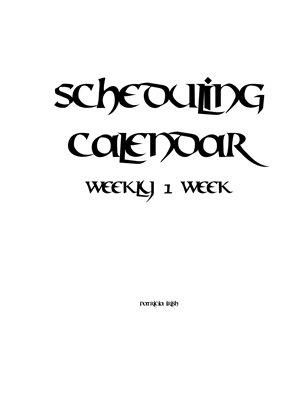 Scheduling Calendar Week 1 Week