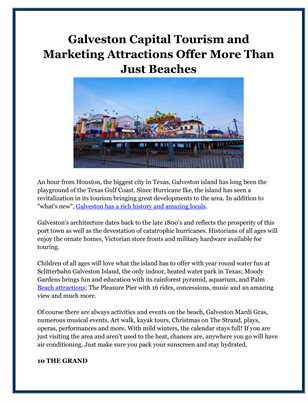 Galveston Capital Tourism and Marketing Attractions Offer More Than Just Beaches