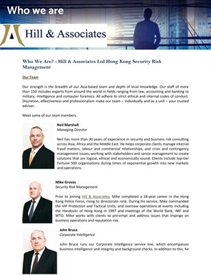 Who We Are? - Hill & Associates Ltd Hong Kong Security Risk Management