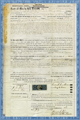 1872 Mortgage, Frank Moran to William Moran, Trumbull County, Ohio