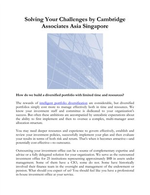 Solving Your Challenges by Cambridge Associates Asia Singapore