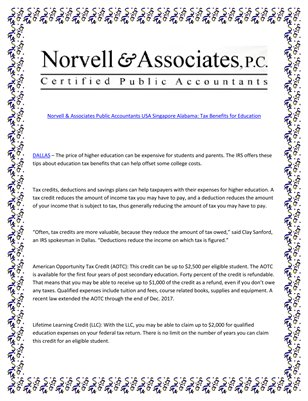 Norvell & Associates Public Accountants USA Singapore Alabama: Tax Benefits for Education