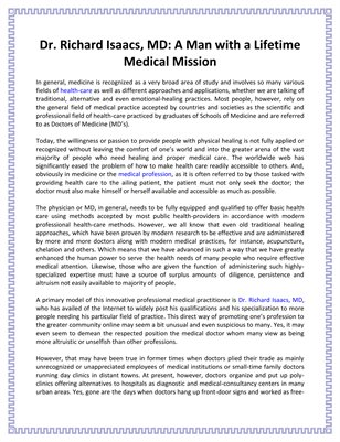A Man with a Lifetime Medical Mission: Dr. Richard Isaacs, MD