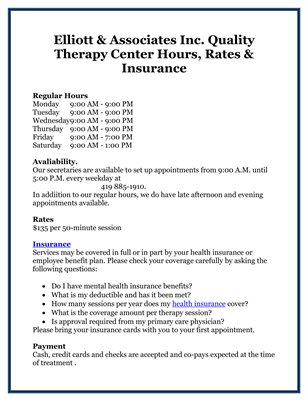 Elliott & Associates Inc. Quality Therapy Center Hours, Rates & Insurance