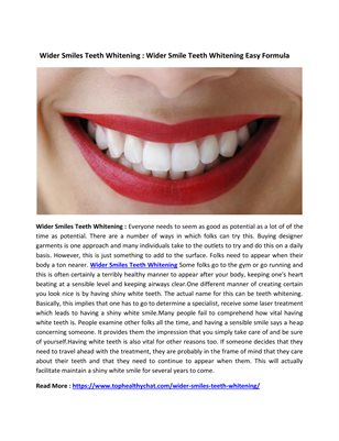Wider Smiles Teeth Whitening : Keep Beautiful Your Smile And Flawless Teeth