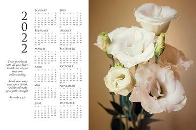2022 Calendar - Proverbs 3:5,6 - Lisianthus