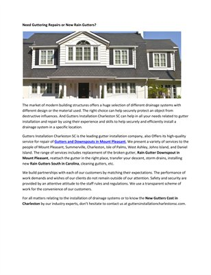 Guttering Prices South Carolina