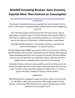 Westhill Consulting Reviews: Swiss Economy Expands More Than Forecast on Consumption